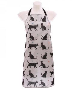 Cicás kötény – Fekete cica mintákkal