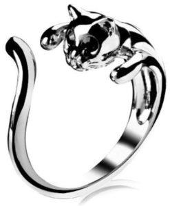Cicás gyűrű – Cicafej strasszkővel