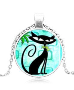 Fekete cica figura nyaklánc