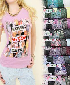 Love Cats cicás póló (Több színben)