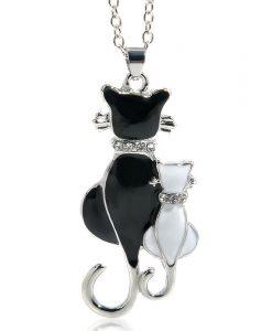 Cicapár nyaklánc fekete fehér – Strasszkövekkel