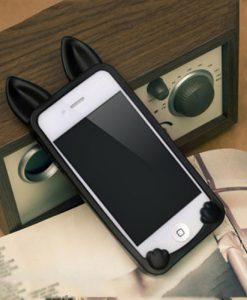 Fekete cicafüles telefon tok – Iphone 4/5/6