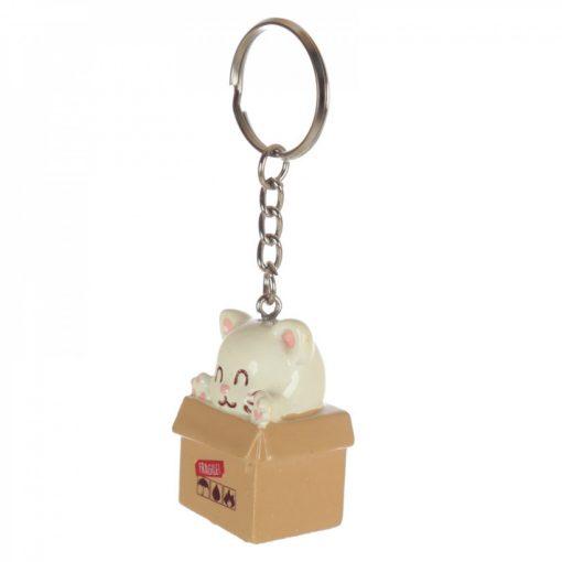 Cica a dobozban kulcstartó