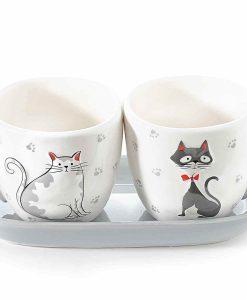Tarka cicás kávés csésze szett