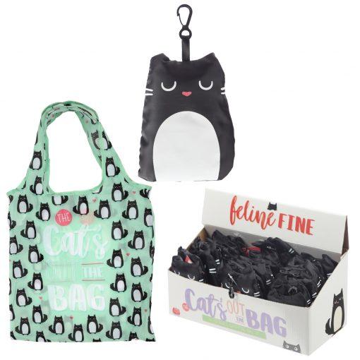 Összehajtható macskás bevásárlótáska