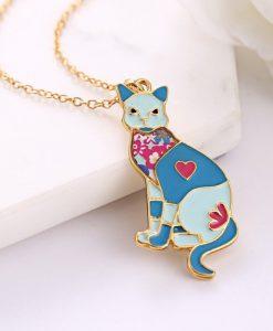 Kék színű cicás nyaklánc