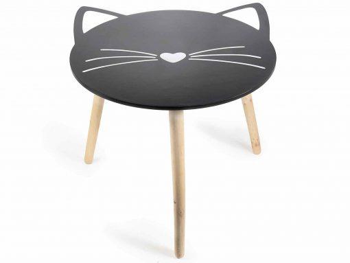 Fából készült cicás asztal