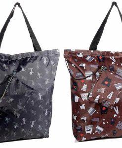 Visszazárható cicás bevásárló táska mini tartóval