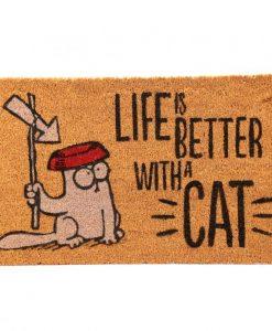 Simon's Cat lábtörlő – Life is better – 75 * 45 cm