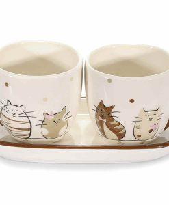 Barna cicás kávés csésze szett