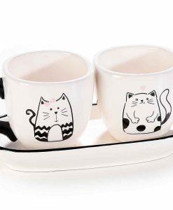 Fekete cicás kávés csésze szett