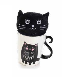 Cicás bögre plüssel – I love my cat