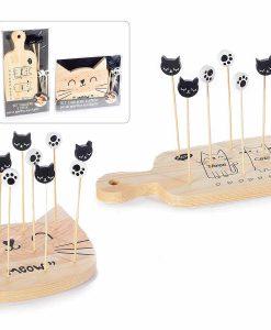 Macskás előételes pálcikák és szervírozó tál