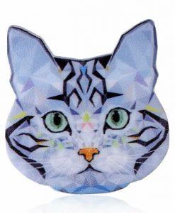 Szürke macskafej kitűző