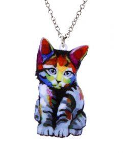 Színes ülő macskás nyaklánc