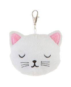 Fehér plüss cica táskadísz