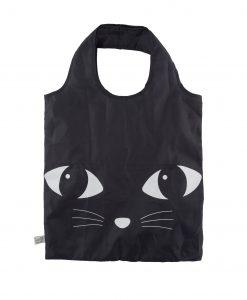 Összehajtható fekete macskás bevásárlótáska