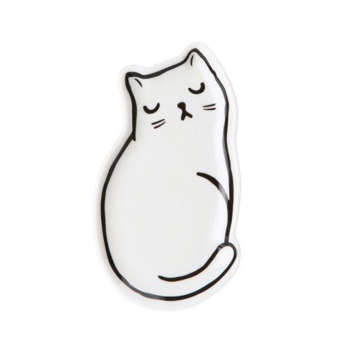 Fehér cicás ékszertartó porcelán tál