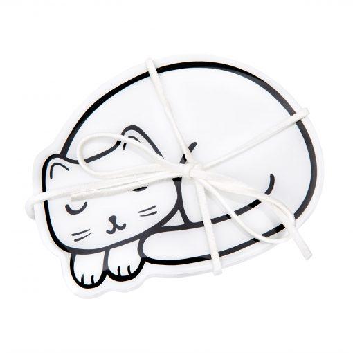 Fehér cicás poháralátét – 4 db-os