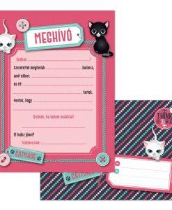 Pink cicás meghívó borítékkal – 10 db