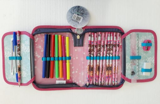 Írószerekkel töltött cicás tolltartó