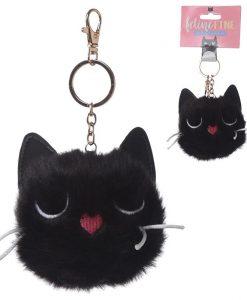 Fekete pompon cica kulcstartó
