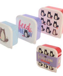 Macskás uzsonnás dobozok – 3 db-os szett