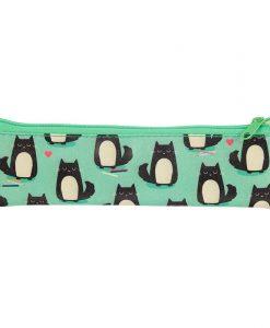 Macskás zöld tolltartó