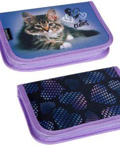 Kinyithatós lila tolltartó cicákkal