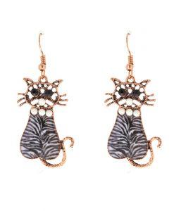 Pepita-arany cica fülbevaló