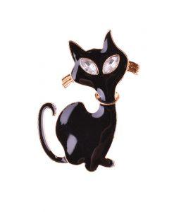 Fekete macska kitűző