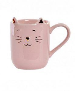 Macskafüles rózsaszín bögre