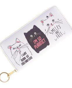 Purrfect fehér macskás pénztárca