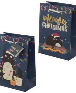 Sötét karácsonyi macskás ajándék táska – 23*17*9 cm