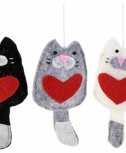 Macskás díszek szívvel