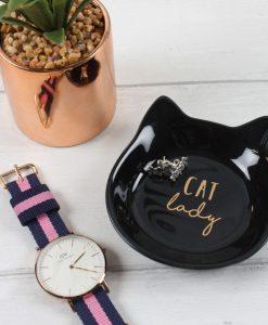 Fekete macskás ékszertartó tál